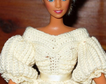 Cream bride gown with doll - ready to ship - Crocheted