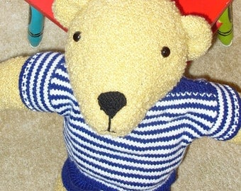 Cuddly Soft Hand-Knitted Bear with Safety Eyes in Hand-Knitted Shirt and Pants - ready to ship