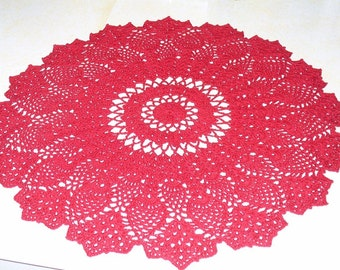 Stunning red pineapple doily - ready to ship - crocheted