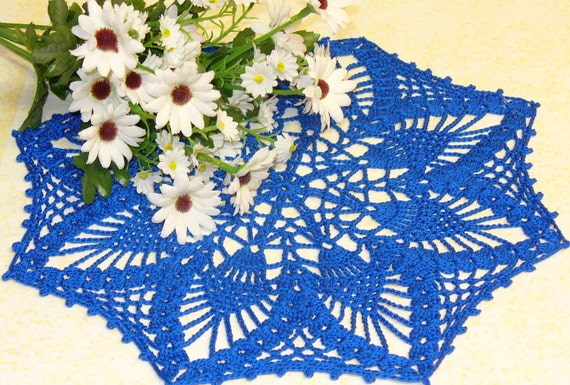 Small royal blue pineapple octagon doily - ready to ship - crocheted
