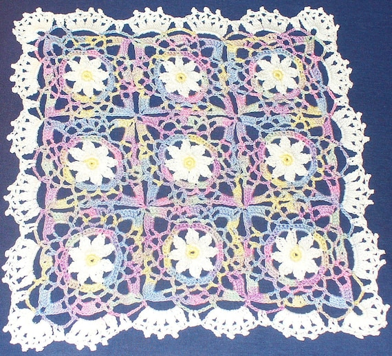 Square pastel flowers doily - crocheted