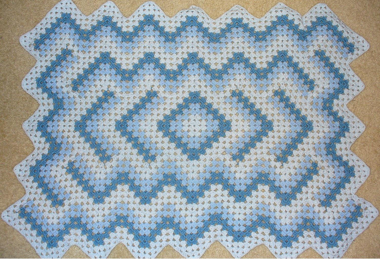 Crochet Baby Blanket Diamond Pattern : Baby / lap afghan Blue diamond zigzag crochet