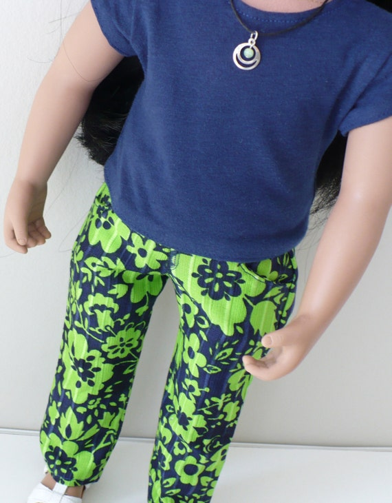 American Girl / 18 inch doll clothes -  patterned skinny jeans, t-shirt and necklace outfit
