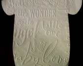 """Any quantity Baby shower """"shirt"""" paper napkins embossed subway art.  Use as banner too."""