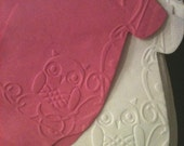 Any quantity baby shower 'shirt' or bib shaped paper napkins or banner decoration embossed with owls White or Any Color