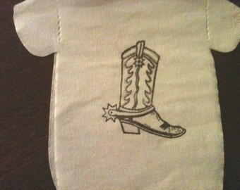 Baby shower 'shirt' or 'bib' shaped napkins or banner in white, ivory, light blue or light pink. Hand stamped with brown cowboy boot.