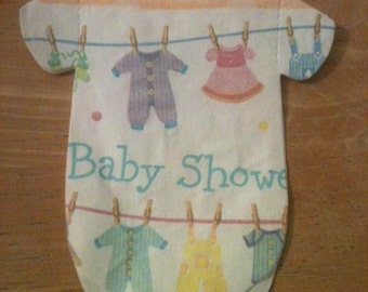 Sale! Any quantity baby shower napkins.  Adorned with baby clothes on a clothesline.  Cut in shape of lttle baby shirts or bibs!