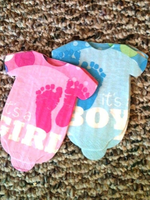Set of 30 Baby shower shirt shaped napkins or banner decoration Its a Boy.  Cute baby footprints.