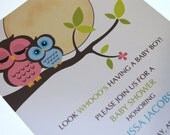 Owl Baby Shower Invitations for Boy or Girl