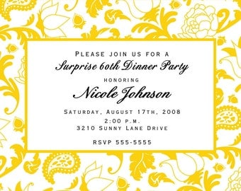 Yellow flower and paisley invitations for any occasion