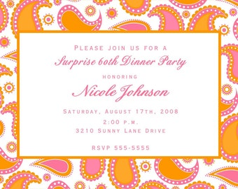 Orange and Pink Paisley Invitations for any occasion