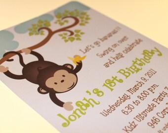 Mod Monkey Invitations for boy or girl