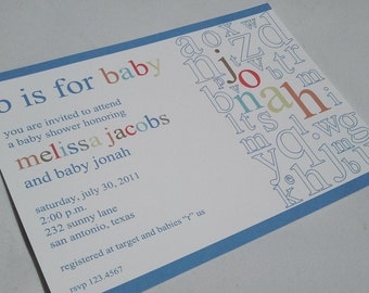 Alphabet Baby Shower Invitations