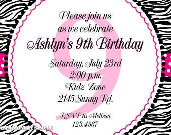 Zebra Birthday Invitations, Different Color Designs
