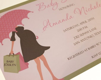 Baby Shower Invitations Pink, Yellow or Blue