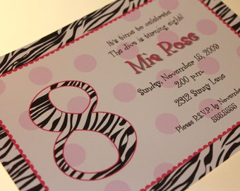 Zebra Birthday Invitations, Different Color Designs
