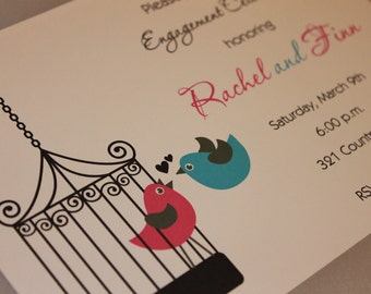 Pink and Blue Love Birds Invitation