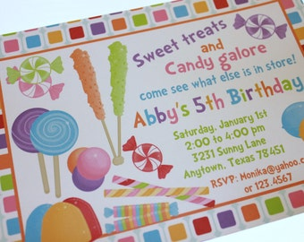 Sweet Candy Shoppe Birthday Invitations