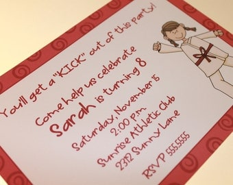 Karate Party Invitations, Boy or Girl