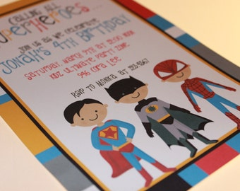 Superboys Invitations, Different designs - 1.00 each with envelope