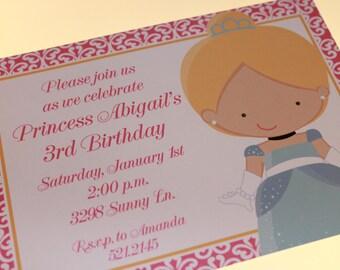 Blonde Princess Birthday Invitations