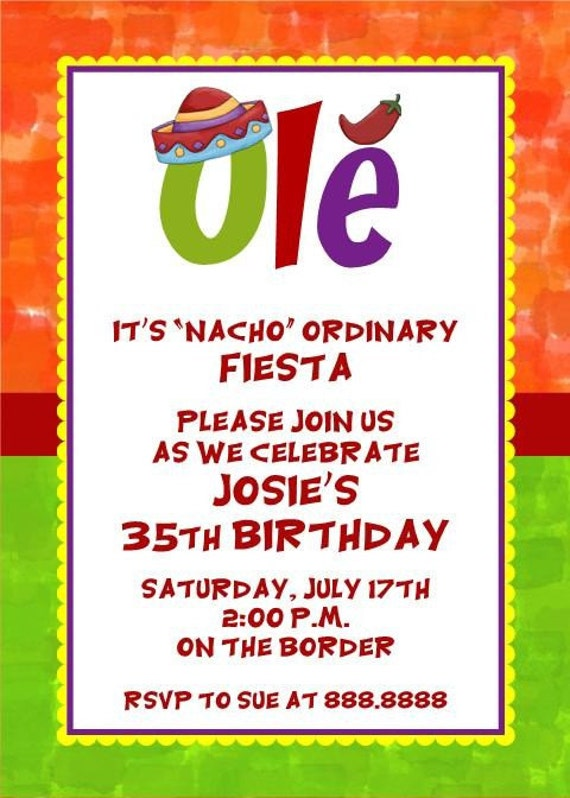 Custom Printed Mexican Theme Spanish Cinco De Mayo Mexico - Birthday party invitation in spanish