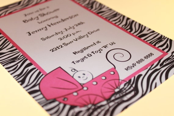 zebra print baby shower invitations in any color by paper monkey, Baby shower invitations