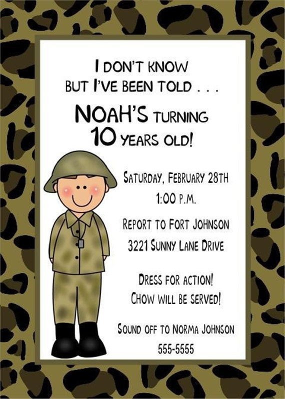 Camouflage Military Or Army Birthday Invitations For Boy Or