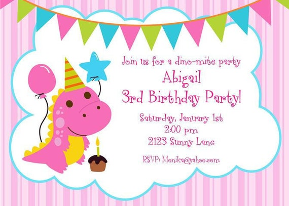 Cute Pink Dinosaur Birthday Invitations