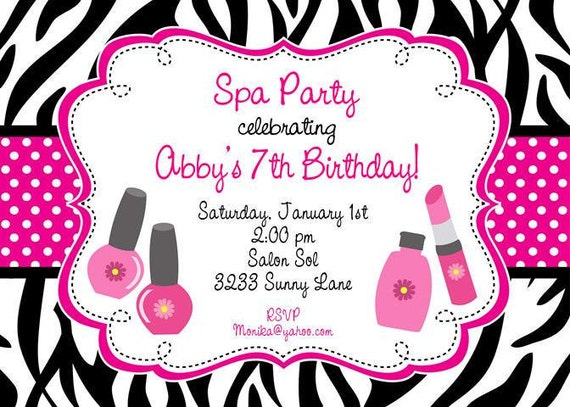 custom printed zebra print manicure pedicure and spa party, Birthday invitations