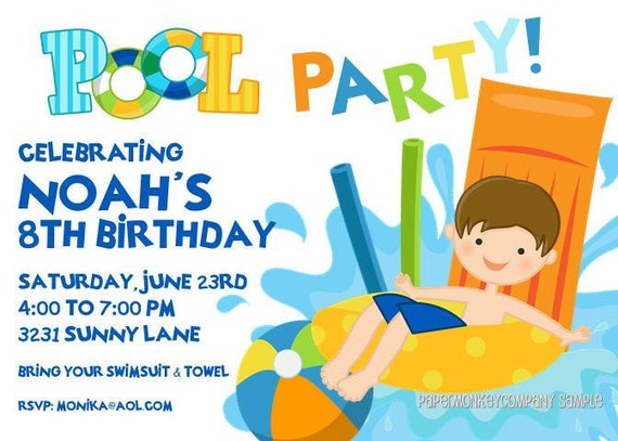 Pool Party Invitations by Paper Monkey Company – Boy Party Invitations