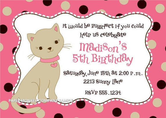 Cute Kitten Birthday Invitations