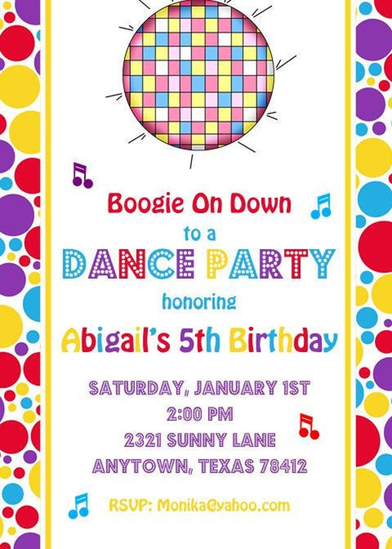 Dance Party Birthday Invitations by PMCInvitations on Etsy
