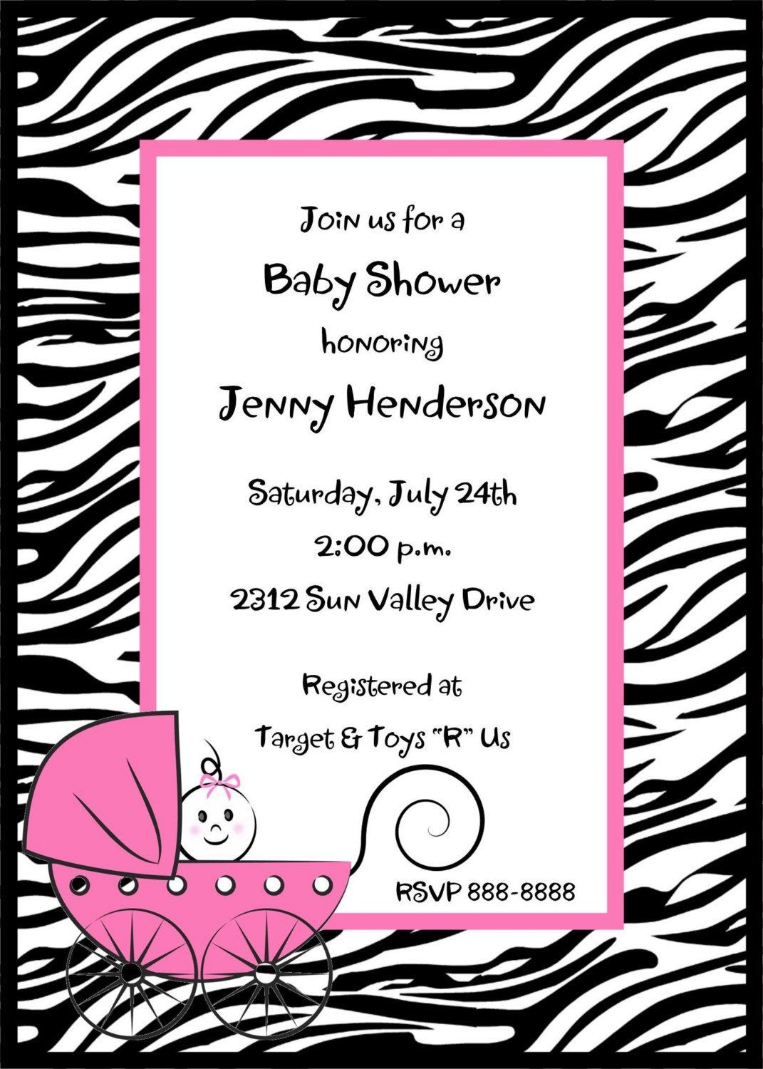 zebra print baby shower invitations by pmcinvitations on etsy
