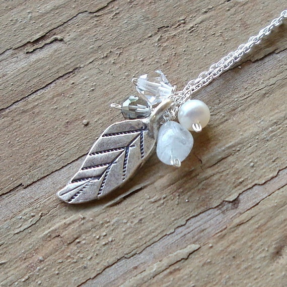 Leaf Pendant with Pearl, Crystal and Smokey Quartz Sterling Silver Necklace. . . Free Shipping.... BadkittyHawaii