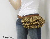 Limited Edition for Fall 2010 - Kinies Gathered Waist Purse in Brown with Cheetah Printed Linen