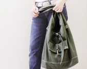 New Year SALE - 20% OFF STARZ in Army Green / Handbags / Hobo / Purses / Barrel Bag / Shoulder Bag / Large / Women / For Her / Gift Ideas