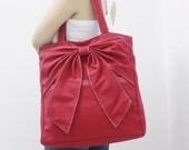 New Year SALE - 20% OFF QT in Red / Tote / Shoulder Bag /  diaper bag / School bag / laptop / Handbags / Purses / women / For Her / Gift
