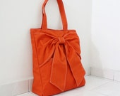 Canvas Tote in Orange, Shoulder Bag, School bag, Totes, Travel bag, Handbags, Totes, Diapers bag, Gift Ideas for Women - QT -  SALE 30% OFF