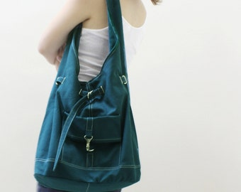Canvas Shoulder bag in Teal, Sling Bag, Hobo Bag, Drawstring Bag, Shopping Bag, Purse, Gift for Women Gift For Her  - STARZ -  SALE 30% OFF