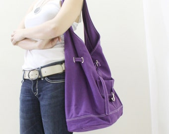 Canvas Shoulder bag in Purple, Sling Bag, Hobo Bag, Drawstring Bag, Shopping Bag, Gift for Women Gift For Her  - STARZ -  SALE 30% OFF