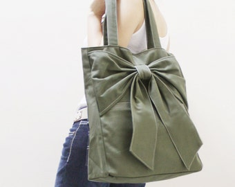 Back To School SALE - 20% OFF QT in Army Green / Tote / Shoulder Bag /  diaper bag / School / laptop / Handbags / Purses / women
