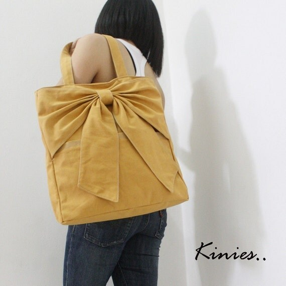 "SALE 10% off Use Coupon Code ""kinies10"" - Last / QT Canvas Tote in Golden Rod"