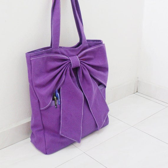 Canvas Tote in Purple, Shoulder Bag, School bag, laptop Tote, Handbags, Bow tote, Diapers bag, Gift Ideas for Women - QT -  SALE 20% OFF