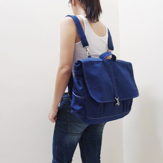 Canvas Backpack / Messenger Bag in Royal Blue, Crossbody bag, Unisex, Satchel, Rucksack, School bag, gift ideas for men -MAXX- SALE 20% OFF