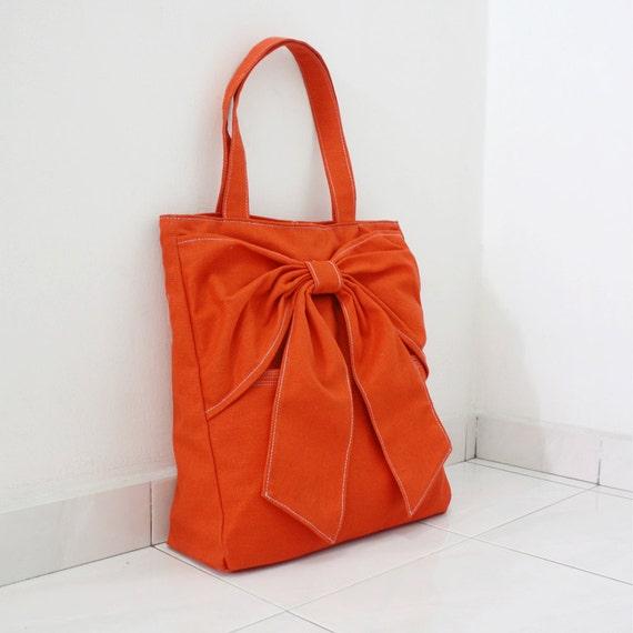 Canvas Tote in Orange, Shoulder Bag, School bag, Totes, Travel bag, Handbags, Totes, Diapers bag, Gift Ideas for Women - QT -  SALE 30% OFF