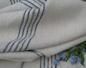 antique hemp linen roll 14.75y handloomed upholstery FADED INDIGO french classy