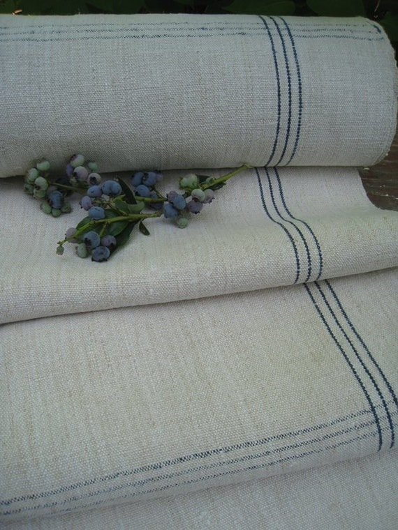 antique 4y FRENCH ELEGANT INDIGO hemp linen roll checkered