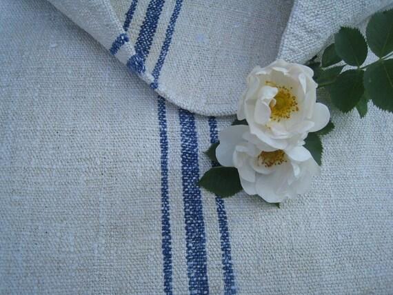antique chunky pillow SWEDISH BLUE feedbag tablerunner heavy