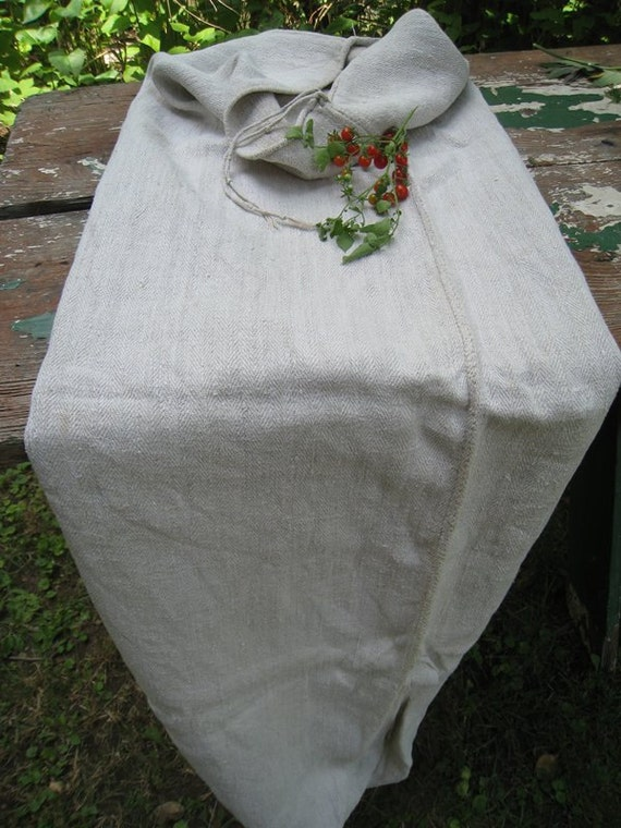 antique HANDLOOMED GRAIN SACK cushion hemp linen pillow pale and soooo cushy 61.4long